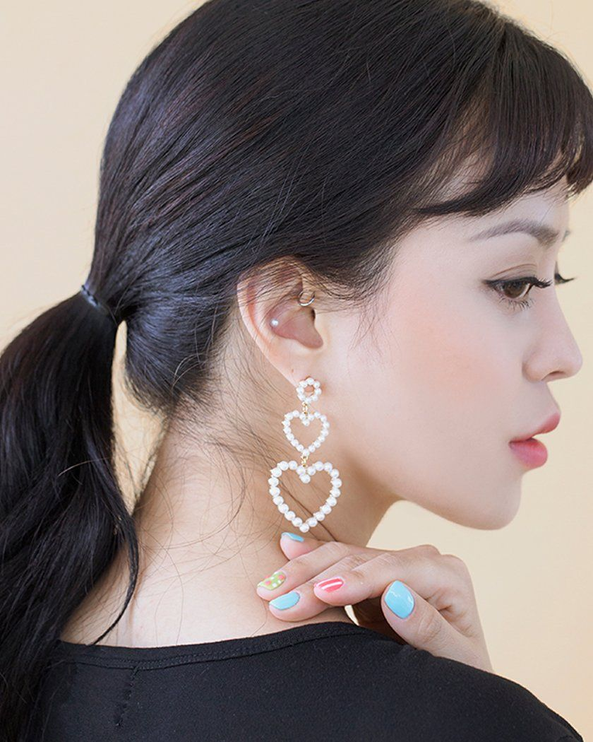 Pearl Frame Heart Drop Earrings Earrings pink-rocket