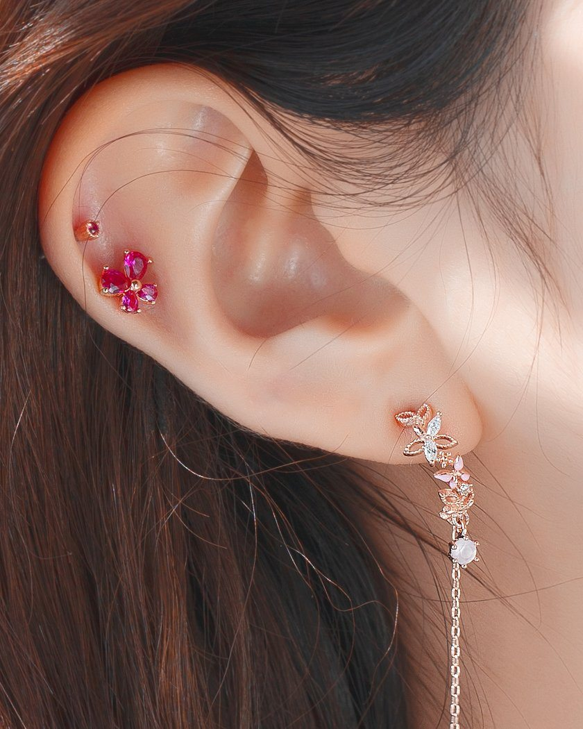 PETITE POINT CUBIC BARBELL PIERCING Piercing pink-rocket