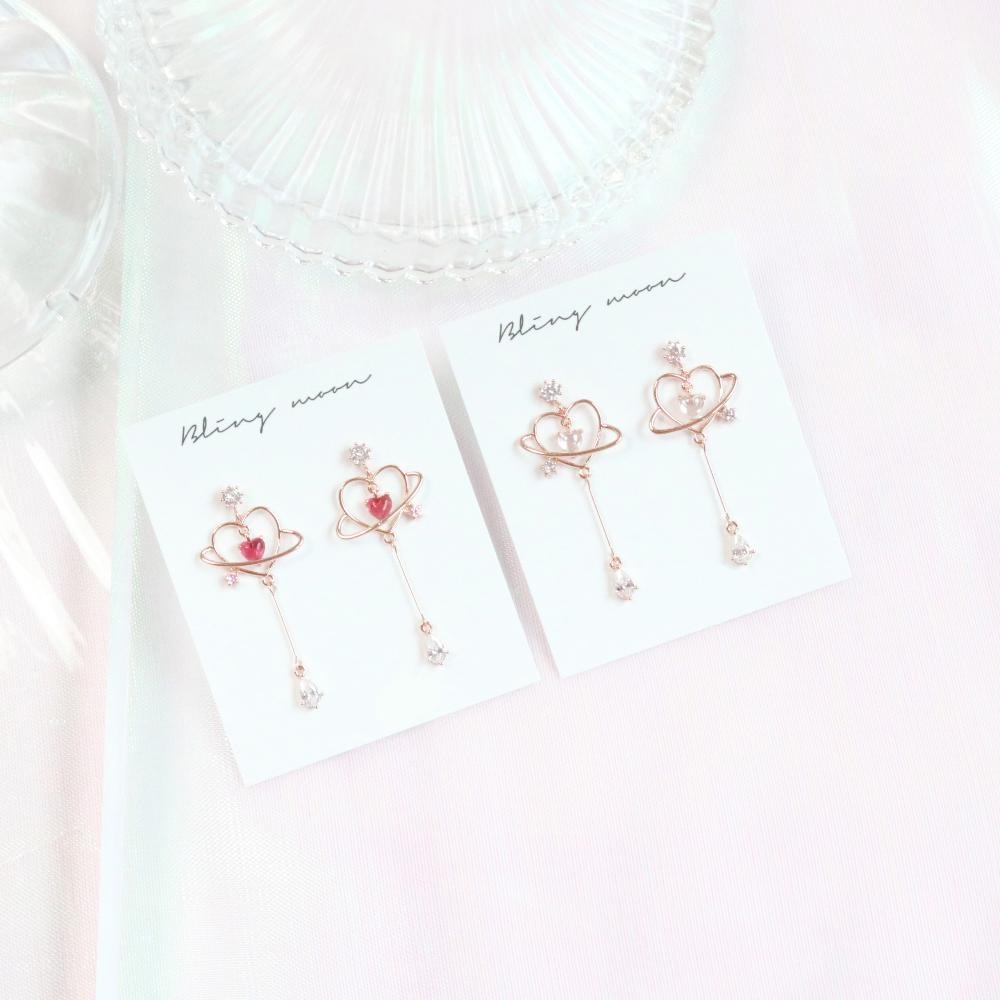 Planet Heart ピアス Earrings bling moon