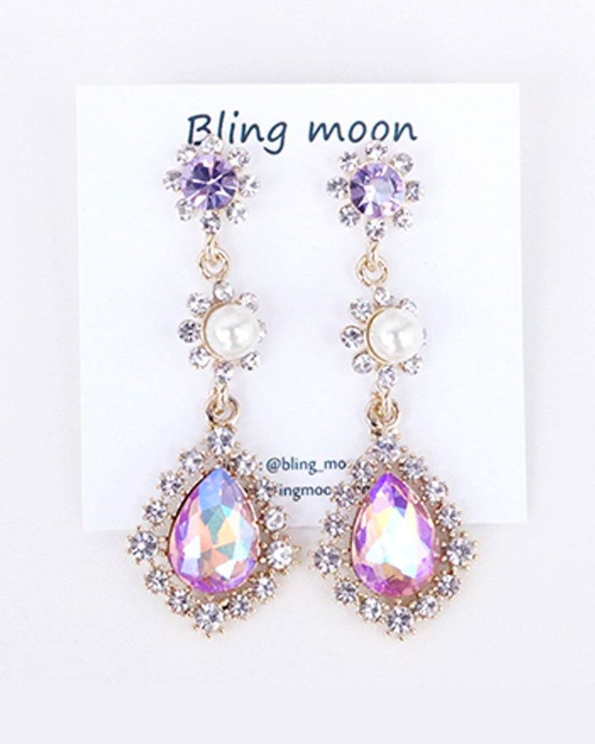 Purple Form Earrings bling moon