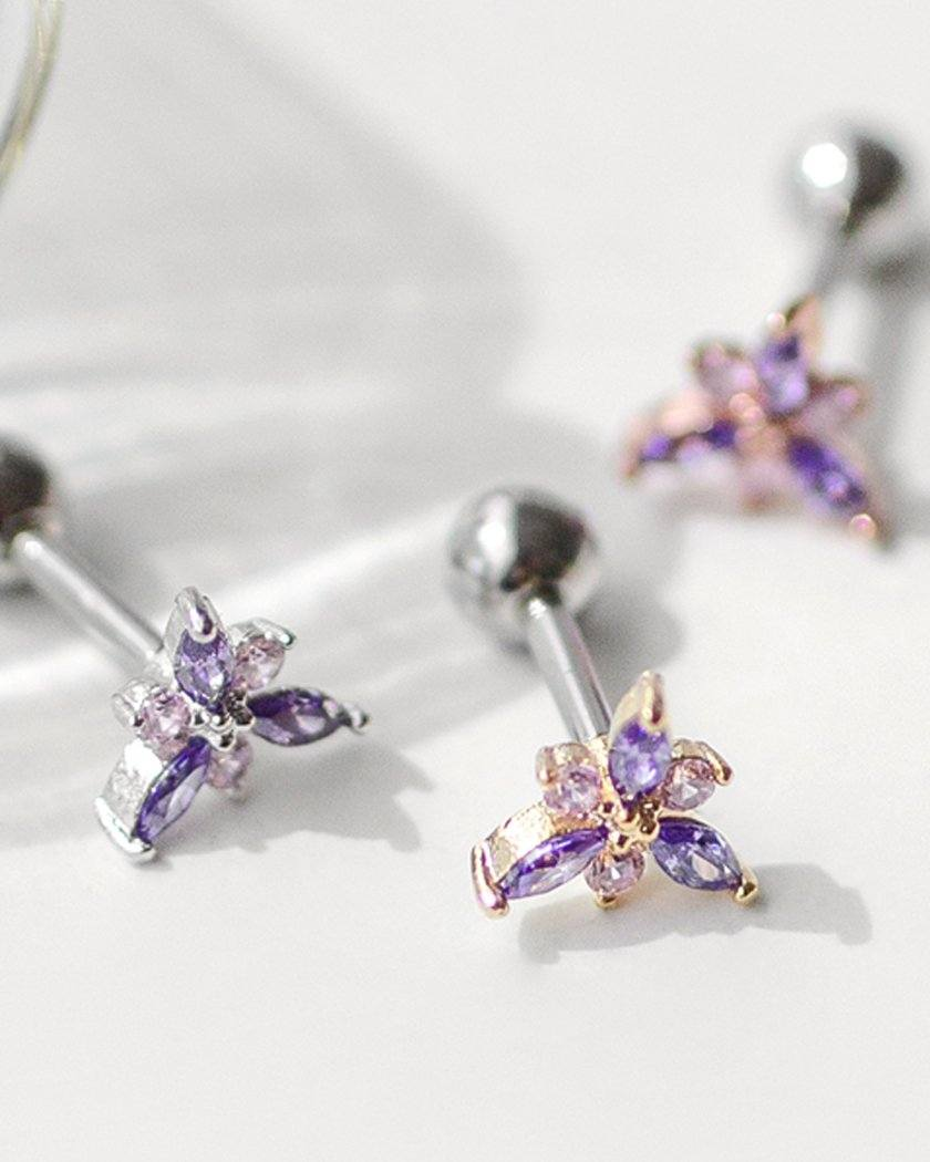 PURPLE PETAL BARBELL PIERCING Piercing pink-rocket