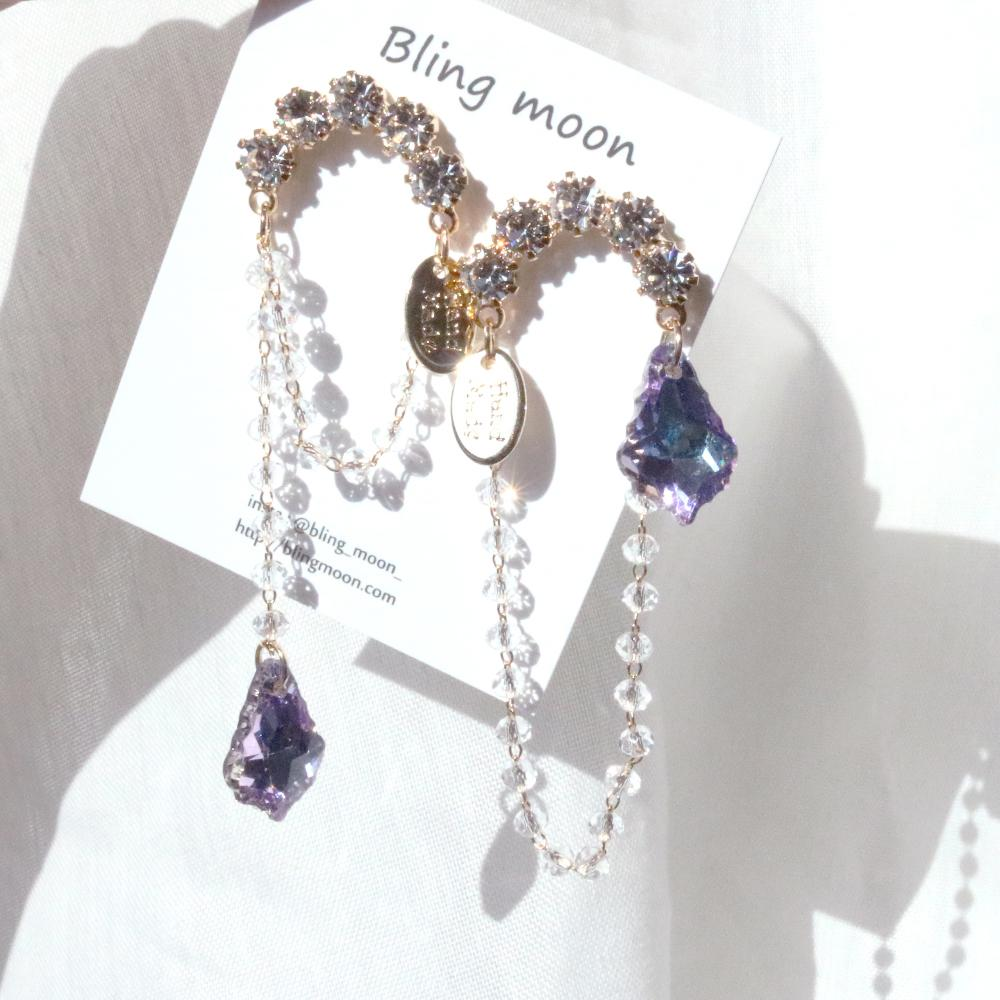 Purple Rounding Earring Earrings bling moon