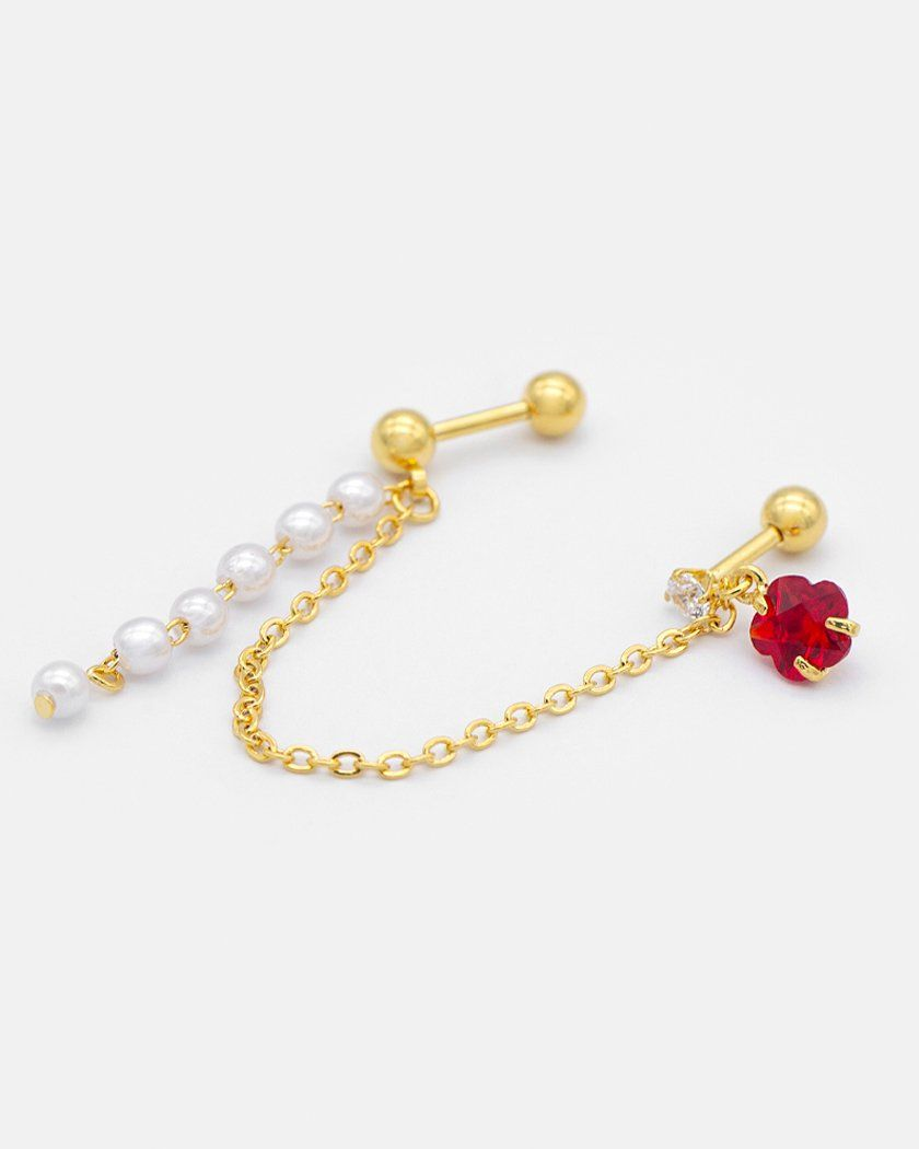 RED CUBIC & PEARL DROP TWOPIN ピアッシング Piercing pink-rocket