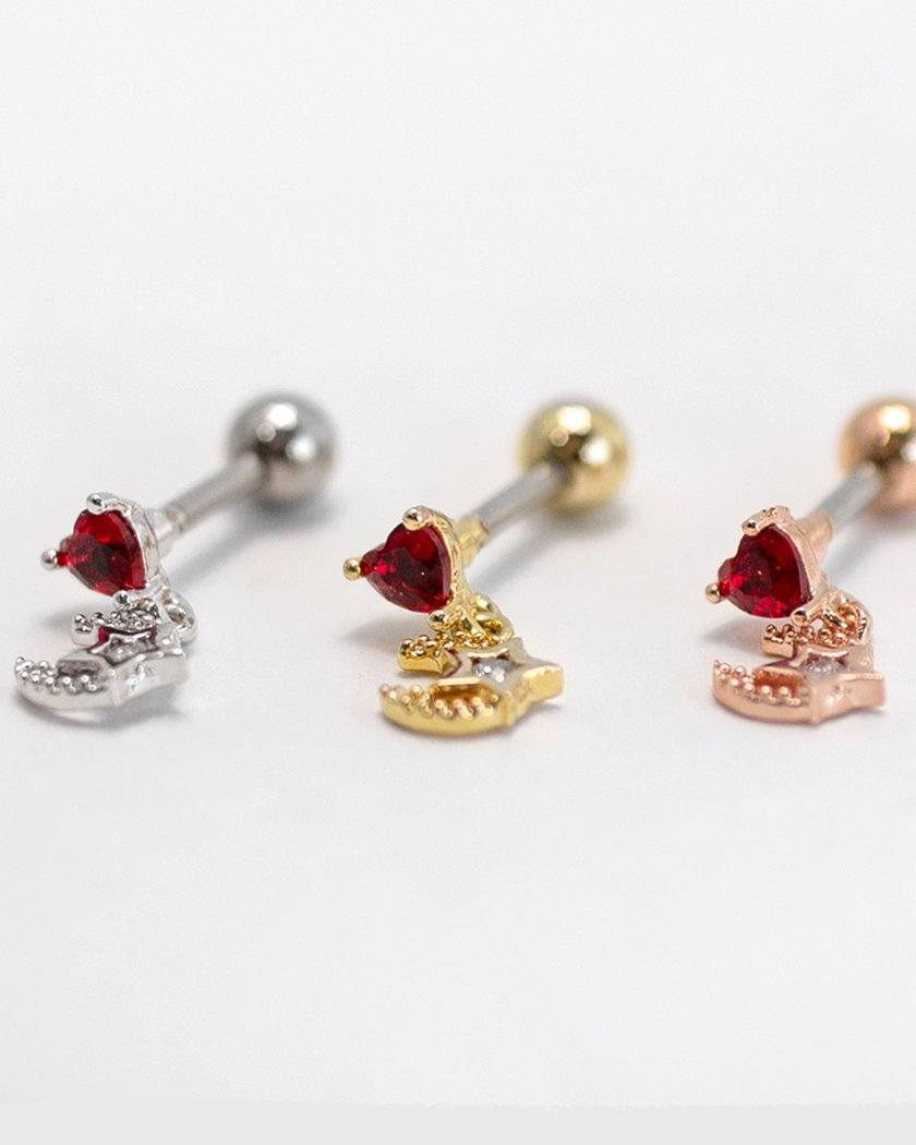 RED HEART MOON JEWELRY BERBELL PIERCING Piercing pink-rocket