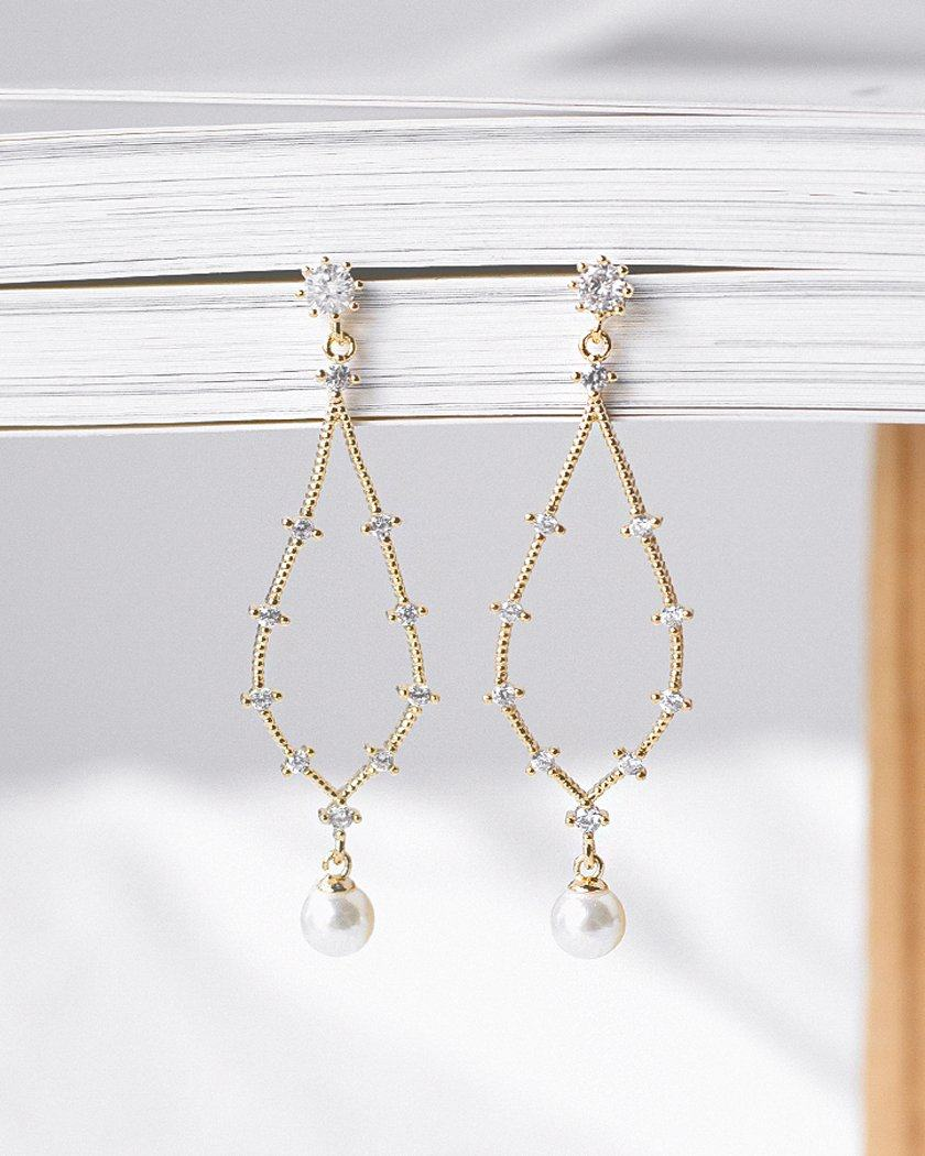 SLIM LINE LEAF PEARL EARRING Earrings pink-rocket