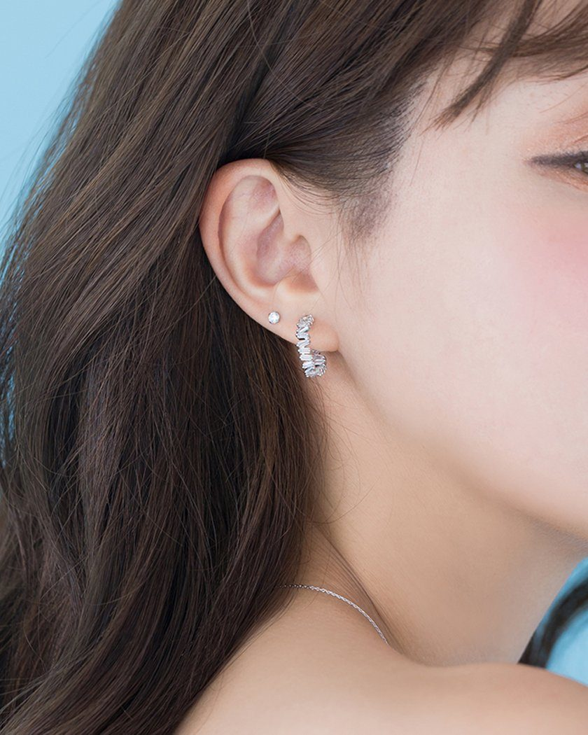 SQUARE CUBIC STEP STONES RING EARRING Earrings pink-rocket