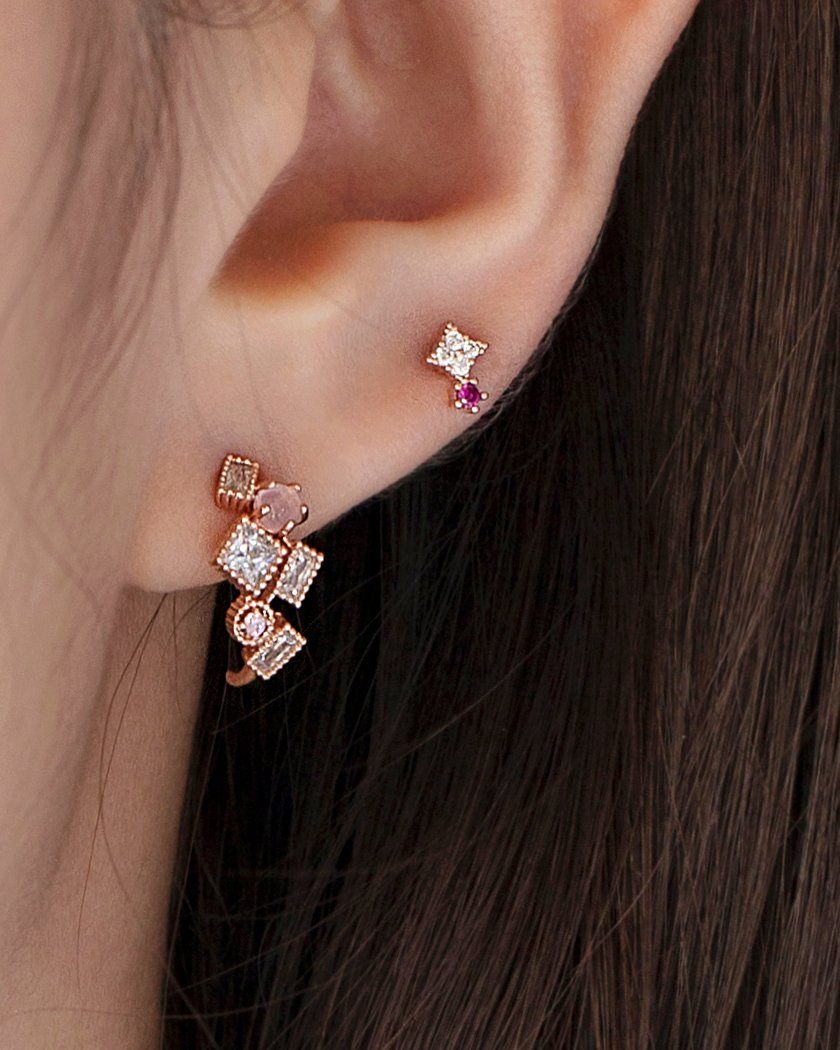 SQUARE POINT CUBIC BARBELL PIERCING Piercing pink-rocket