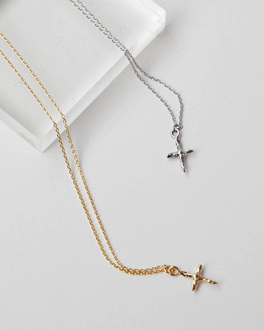 VINTAGE TEXTURE CROSS NECKLACE necklace pink-rocket