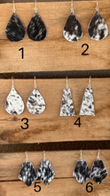 Load image into Gallery viewer, Black and White Cowhide Earrings