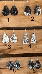 Black and White Cowhide Earrings