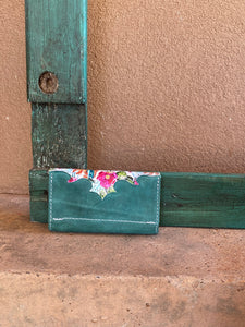 Cactus Blossoms and Turquoise Trifold Wallet
