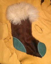 Load image into Gallery viewer, Hair on Cowhide and Turquoise Stocking