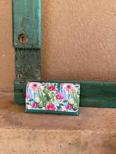 Load image into Gallery viewer, Cactus Blossoms and Turquoise Trifold Wallet
