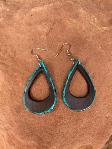Turquoise Edge Teardrop Earrings with a surprise