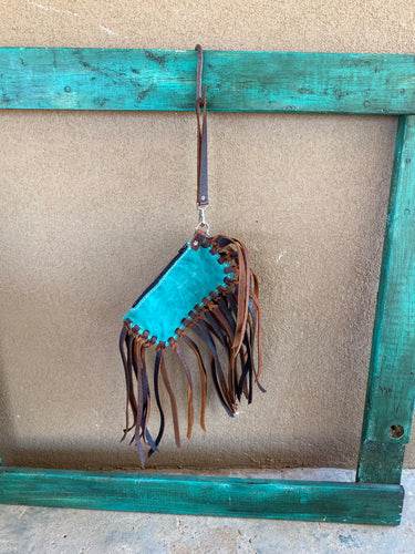 Turquoise Wristlet with Brown Buffalo Fringe