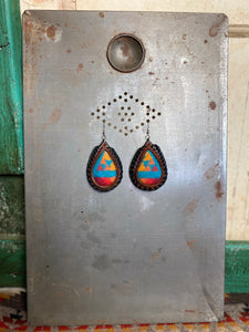 Turquoise Sunset Pendleton Inlay Laced Earrings