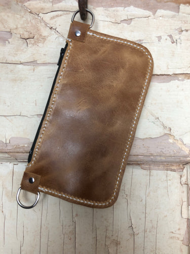 Vintage Brown Simple Wristlet