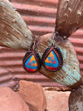Load image into Gallery viewer, Turquoise Sunset Pendleton Inlay Laced Earrings