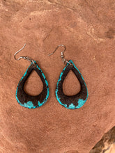 Load image into Gallery viewer, Turquoise Edge Teardrop Earrings with a surprise