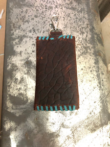 Buffalo Card Holder with Turquoise Stitching