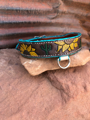 Sunflower and Cacti Dog Collar