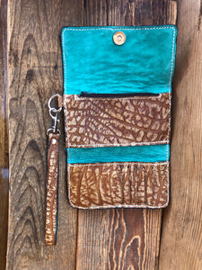 Hair on Cowhide Clutch Wallet with Patch