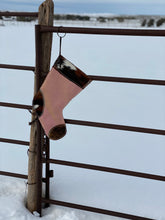 Load image into Gallery viewer, Sparkly Pink and Cowhide stocking