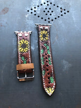 Load image into Gallery viewer, Sunflower and Prickly Pear Cacti 42/44mm Apple Watch Band