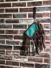 Load image into Gallery viewer, Turquoise Wristlet with Brown Buffalo Fringe