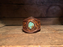 Load image into Gallery viewer, Leather Bracelet with Turquoise Stone