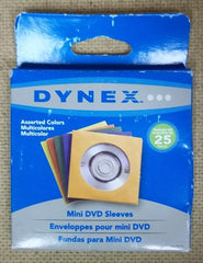 Dynex DX-JW107 Mini DVD Sleeves Assorted Colors Pack of 25 -- New