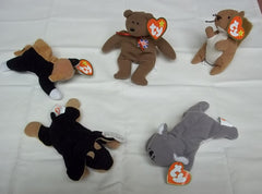 Ty Teenie Beanie Babies Lot of 5 Doby Chip Mel Nuts Britannia -- Used
