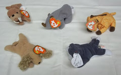Ty Teenie Beanie Babies Lot of 5 Spunky Twigs Spike Tusk 'Nook -- Used