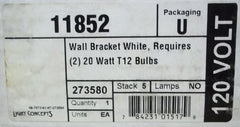 Light Concepts 273580 Fluorescent Wall Bracket White for 2 each 20W T12 Bulbs -- New