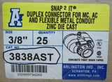 Arlington 3838AST 3/8in Duplex Flex Cable Connectors Box of 25 -- New