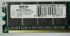 Add-On AO16C6464-PC266 512MB Pc266 (pc2100) Ddr 64x64 184-pin 2.5v -- Used