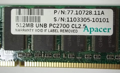 Apacer 77.10728.11G 512MB PC2700 DDR-333MHz non-ECC 184-Pin DIMM -- Used