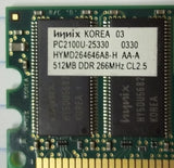 Hynix HYMD264646A8-H 512MB PC2100 DDR-266MHz non-ECC 184-Pin DIMM -- Used