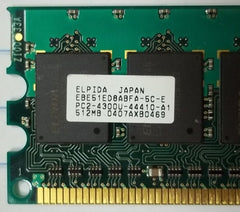 Elpida 512MB PC2-4200 DDR2-533MHz ECC Unbuffered CL4 240-Pin DIMM * EBE51ED8ABFA-5C-E Plactic * -- Used