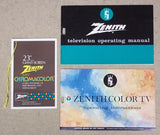 Zenith Manual Instructions and Tag for Chromacolor TV 202-3668 Vintage Paper  -- Used