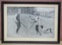 Custom Made Hunter and Farmer Print 12 1/2in x 8in  Vintage Paper  -- Used