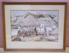 Custom Made Horse Team Print Unsigned 11 3/4in x 7 3/4in  Vintage Paper  -- Used
