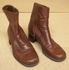 Naturalizer Womens Ankle Boots Leather Female Adult 8M Brown Solid S37 -- Used