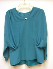 Siasia Blouse and Skirt Set Polyester Female Adult Small Turquoise Solid  -- Used