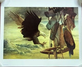 Chester Fields Print Two Eagles 20in x 24in Signed 92/750 -- Used