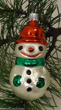 Snowman Old World Ornament European Glass White/Green/Red -- Used