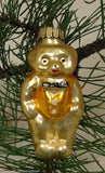 Teddy Bear with Vest and Bow Tie Ornament Germany Glass Gold -- Used