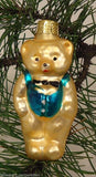 Teddy Bear Old World Ornament European Glass Gold/Blue -- Used