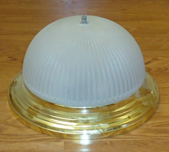 Dome Light Fixture 13 1/4in Frosted Glass Gold Color Metal -- Used