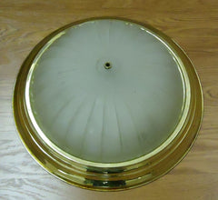 Dome Light Fixture 15 1/2in Frosted Glass Gold Color Metal -- Used